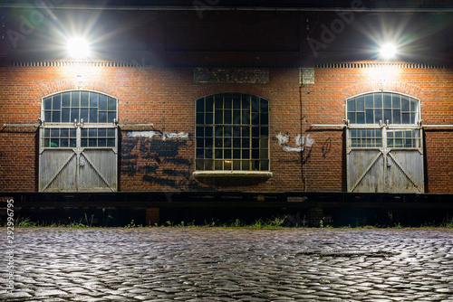 Gates of an old warehouse, Warehouse Dock at Night, old warehouse at night