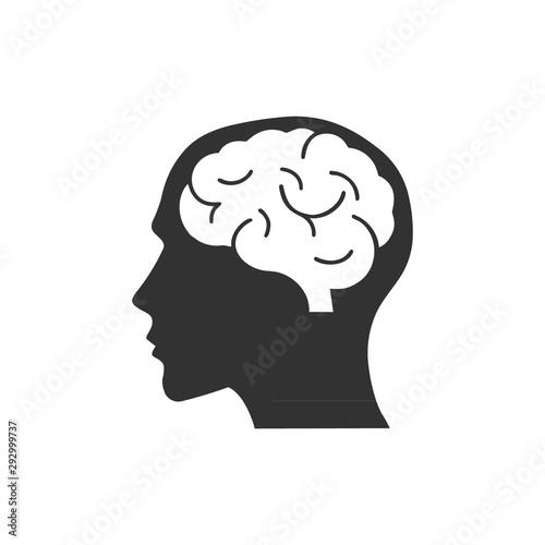 Head with brain icon logo Wall mural