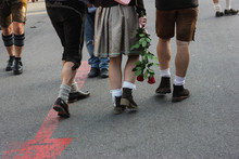 Oktoberfest, Girl With Two Friends And A Rose Of Shooting Gallery.