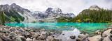 Fototapeta Natura - Mountain Panorama with Beautiful Turquoise Lake