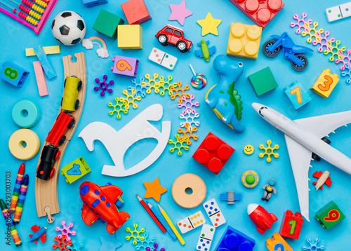 Fotografia Set of kids toys on blue background