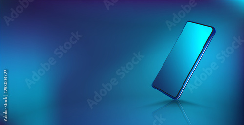 Carta da parati Modern smartphone mockup, isometric position