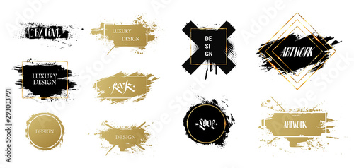 Texting boxes. Vector golden brush stroke, brush, line or texture. Quote box speech template. Vector dirty artistic design. Beautiful patterns for text, frames with paint and gold frames. Vector
