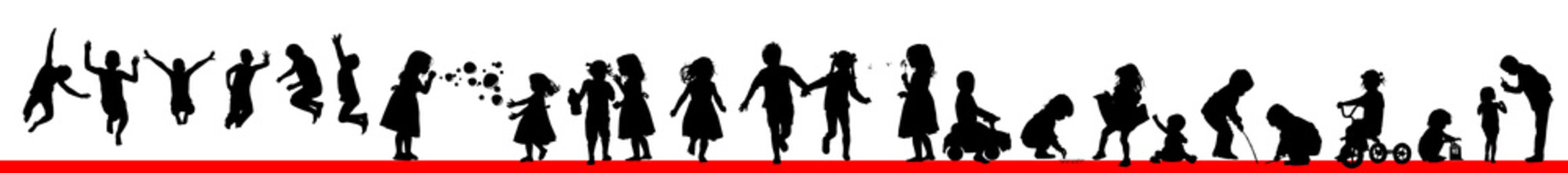 A set of silhouettes of children. Happy childhood. Vector illustration