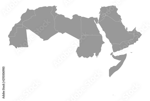 Tela  Arab World states political map with higlighted 22 arabic-speaking countries of the Arab League