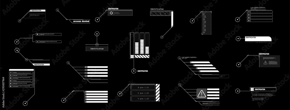 Fototapety, obrazy: Interface elements HUD, UI, GUI. Vector Callout Titles set.  Futuristic callout bar labels, information call box bars and modern digital info boxes layout templates. Callouts titles in HUD style.