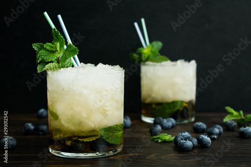 Valokuva Blueberry Mint Julep Cocktails with Garnish