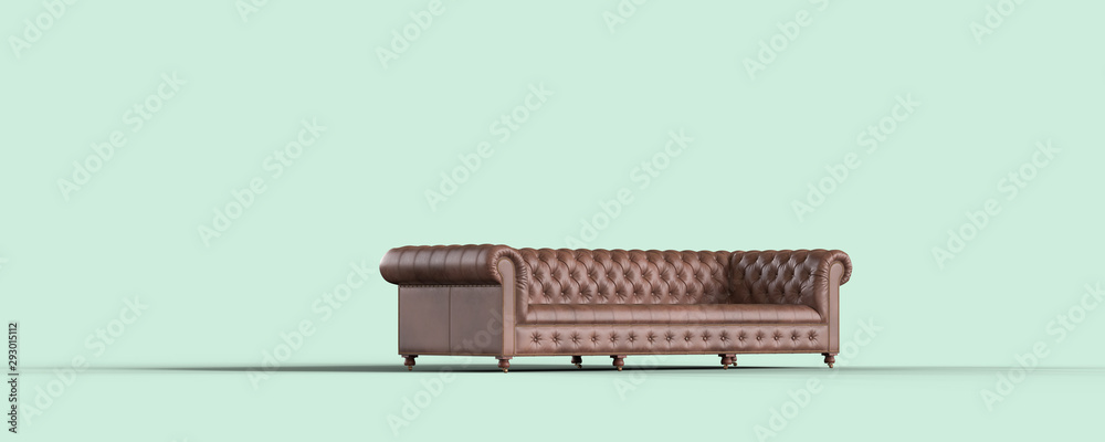 Fototapety, obrazy: Brown leather couch on black background. Perspective view. 3d Rendering