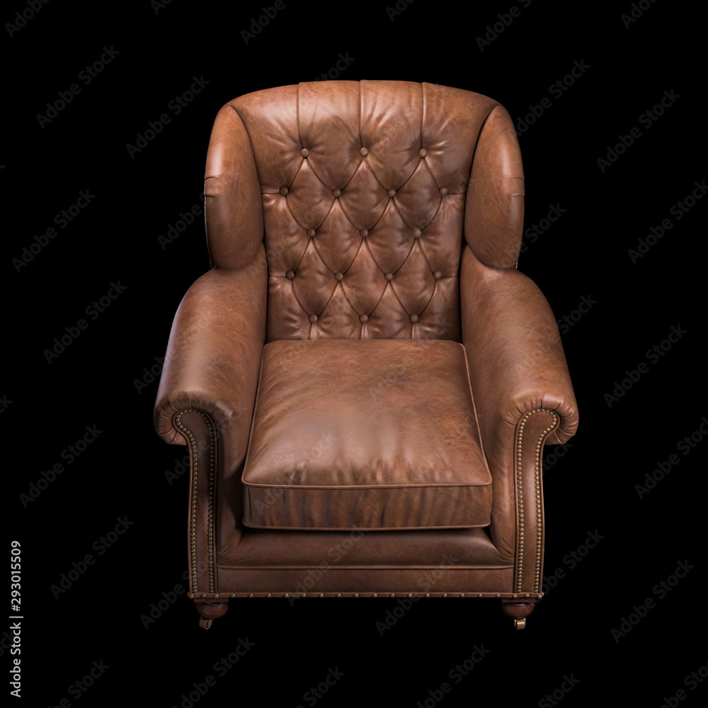 Fototapety, obrazy: Brown leather chair on black background. Front view. 3d Rendering