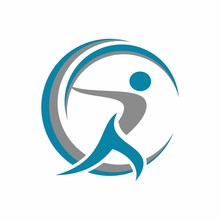 Running Happy Abstract Stick Figure Logo Design Template Vector Illustration
