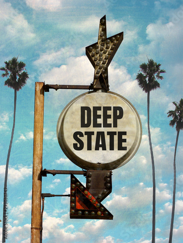 aged and worn deep state sign Canvas Print