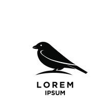 Sparrow Bird Silhouette Black Silhouette Logo Icon Design Vector Illustration