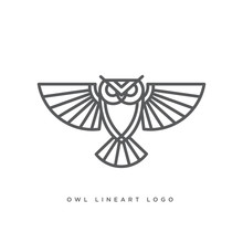 Line Art Of Owl Logo Concept, Vector Illustration