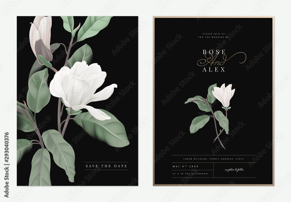 Obraz Floral Wedding Invitation Card Template Design White