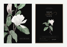 Floral Wedding Invitation Card Template Design, White Anise Magnolia Flowers With Leaves On Dark Grey, Pastel Vintage Theme