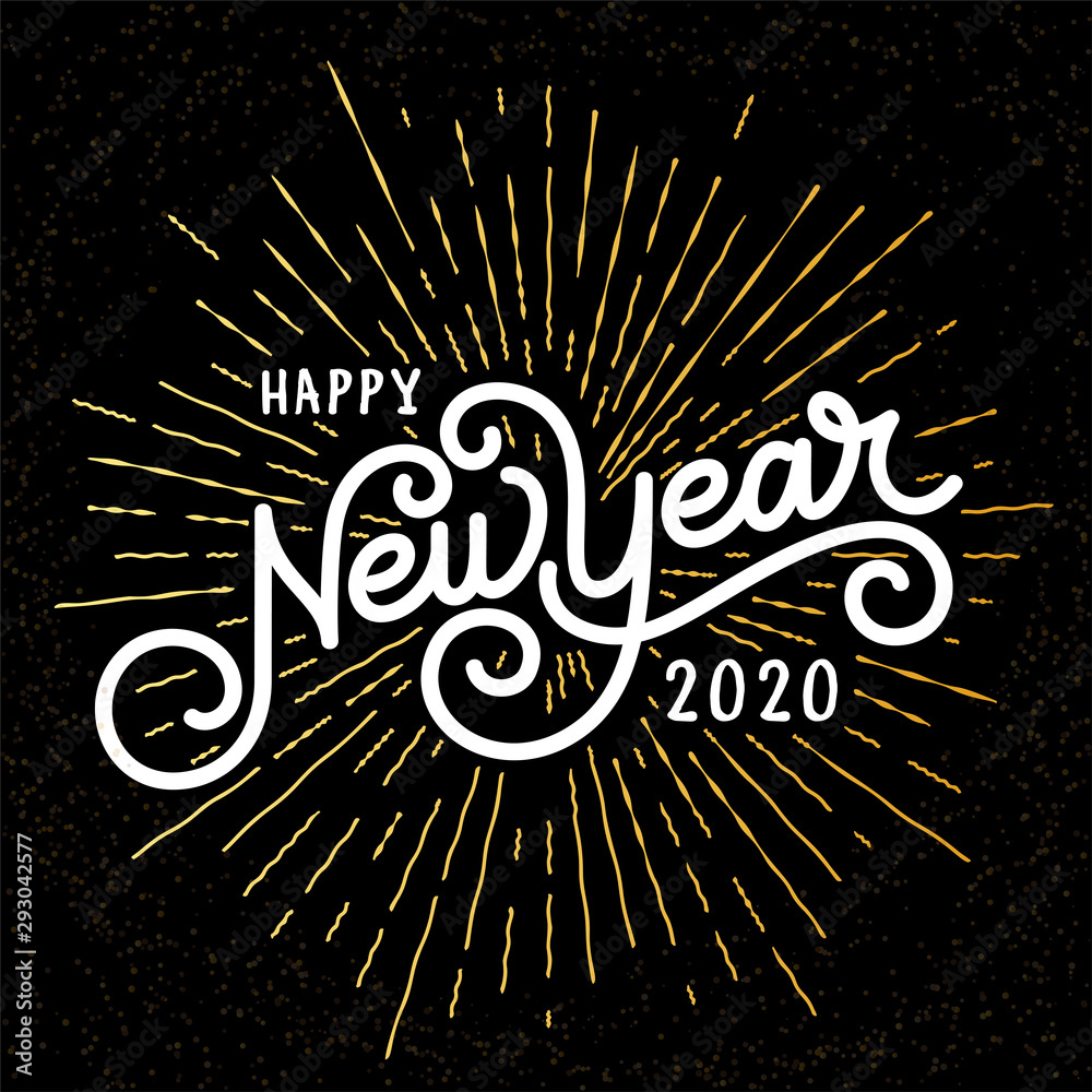 Fototapeta Happy New Year Lettering with burst rays. Holiday Vector Illustration. Lettering Composition And Rays Or Sunburst