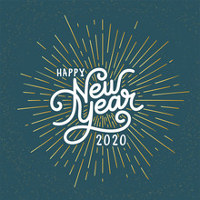 Happy New Year Lettering With Burst Rays. Holiday Vector Illustration. Lettering Composition And Rays Or Sunburst