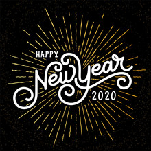 Happy New Year Lettering With ...