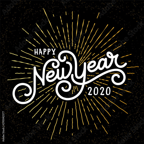 Fototapeta Happy New Year Lettering with burst rays. Holiday Vector Illustration. Lettering Composition And Rays Or Sunburst obraz