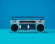Vintage 80's 90's Boom Box Ghetto Blaster Dual Cassette Recorder Player Radio With Color Gels
