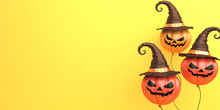 Pumpkin Balloons With Witch's ...