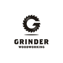 Initial G Grinder For Woodworking Or Carpentry Logo Design