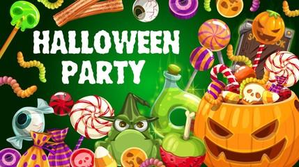 Halloween trick or treat candies, jellies, pumpkin