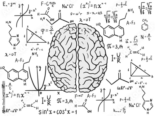 Human brain and formulas. Analytic concept. Vector illustration Canvas Print