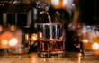 Bartender Serve Whiskey, on wood bar