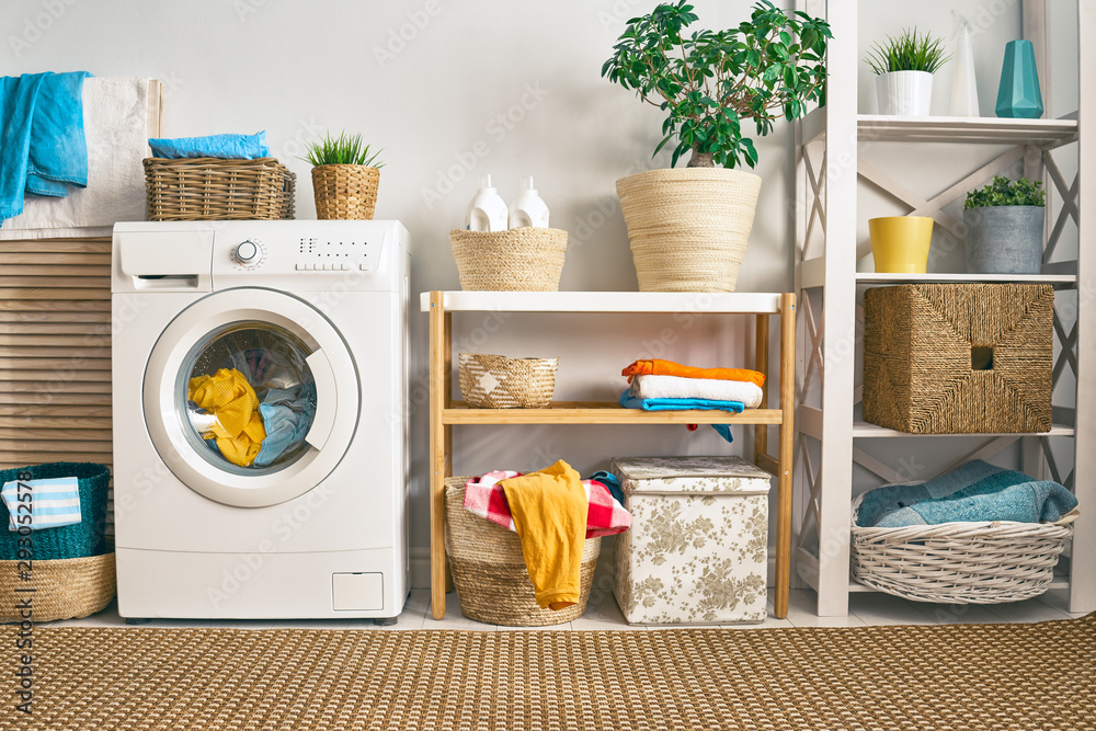 Fototapety, obrazy: laundry room with a washing machine