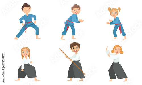 Photo Cute Boy and Girls Doing Aikido and Judo in Uniform, Children Practicing Martial
