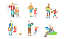 Grandparents Spending Time With Grandchildren Set, Grandfather And Grandmother Playing, Walking, Reading Books, Doing Sports With Their Grandsons And Granddaughters Vector Illustration