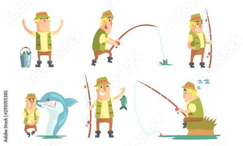 Cuadros en Lienzo Fisherman Catching Fish with Fishing Rod Set, Funny Male Fisher Cartoon Characte