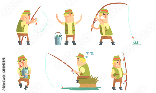 Photo Fisherman Catching Fish with Fishing Rod Set, Funny Fisher Cartoon Character Hav