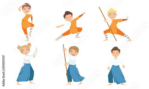 Photo Cute Boy and Girls Doing Jiu Jitsu and Aikido in Uniform, Children Practicing Ma