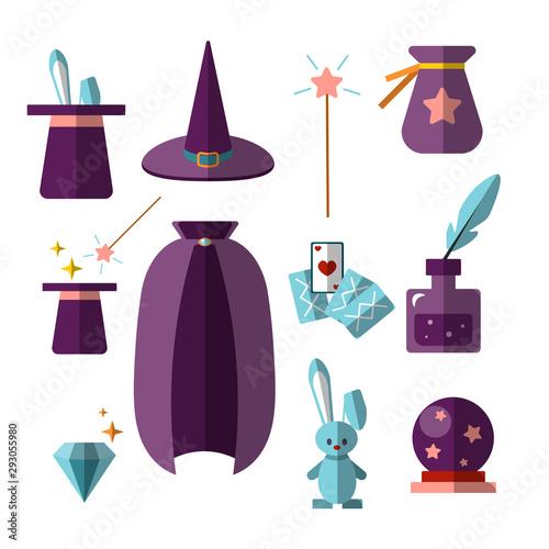Carta da parati magician illusionist vector flat set with fabulous items - magic hat, rabbit, wa