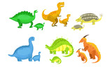 Fototapeta Dinusie - Cute Mother and Baby Dinosaurs Set, Loving Parents and Adorable Kids Prehistoric Animals Vector Illustration