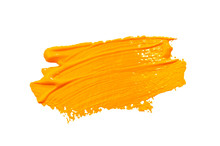 Paint Brush Stroke Texture Ochre Yellow Watercolor Isolated