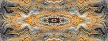 Acrylic Fluid Art. Golden Wave And Curls Pattern. Luxury Marbleized Effect Kaleidoscope