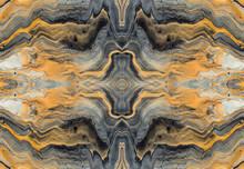 Golden Wave And Curls Pattern. Luxury Marbleized Effect Kaleidoscope. Acrylic Fluid Art