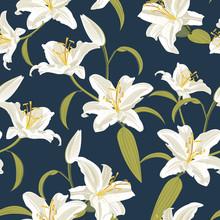 Lily Flower Seamless Pattern On Blue Background, Orange Lily Floral Vector Illustration