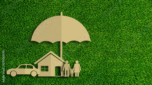 Fototapeta Paper cut of insurance concept on green grass background. Car insurance, life insurance, home insurance to protection by umbrella. obraz