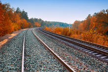 Train Tracks View With Autumn ...