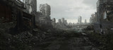 Fototapeta Miasto - Ruined Cityscape