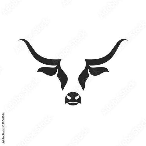 Photographie Scottish highland cow. Logo. Isolated head on white background