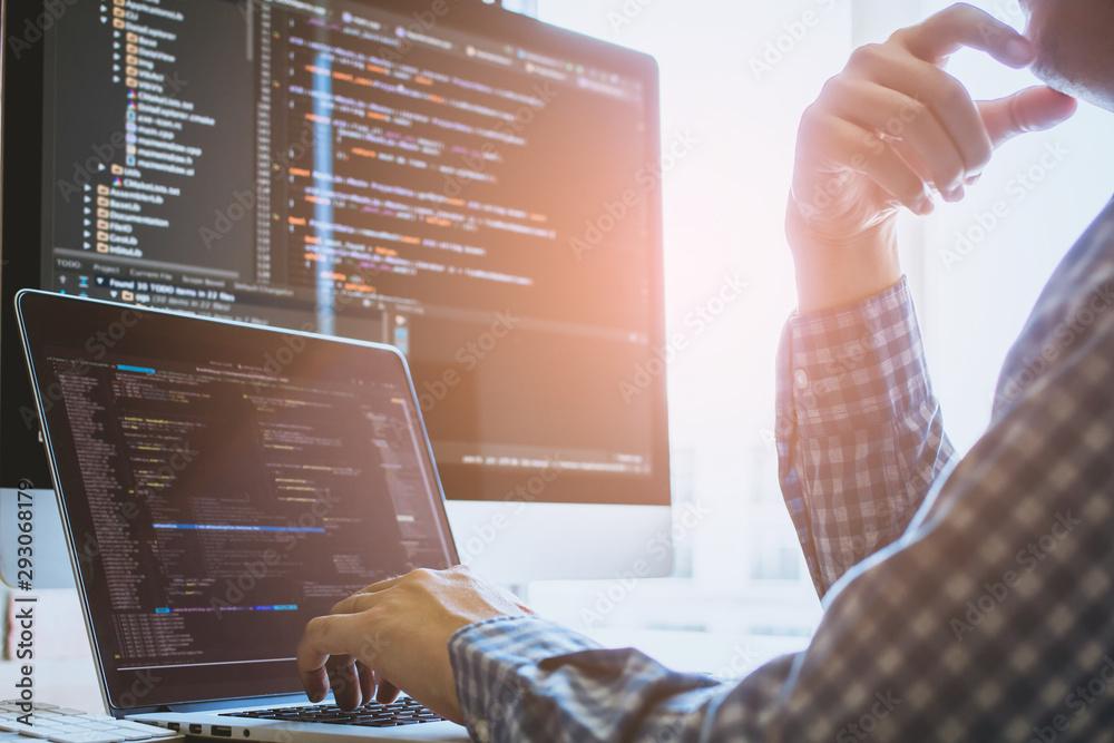Fototapeta Bright light Developer programming and coding technology. Website design Safety of tahe social world Cyberspace concept.