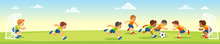 Boys Kicking Football On The Sports Field. Vector Cartoon Flat Illumination