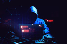 Hacker Man Terrorist With Virus Computer Attack To Server Network System Online In Data Internet Security Hacking Ai Concept
