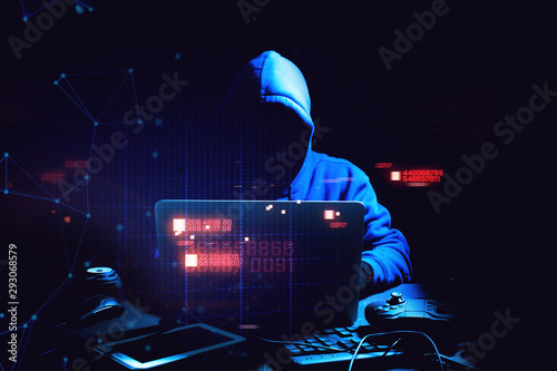 hacker man terrorist with virus computer attack to server network system online Fotobehang