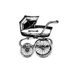 Fototapeta na wymiar Baby carriage vector illustration on white background. Sketch drawing of pram.